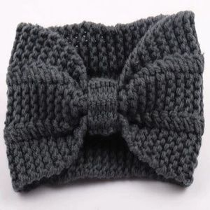 Accessories - Gray Crocheted Front Knotted Wide Headband